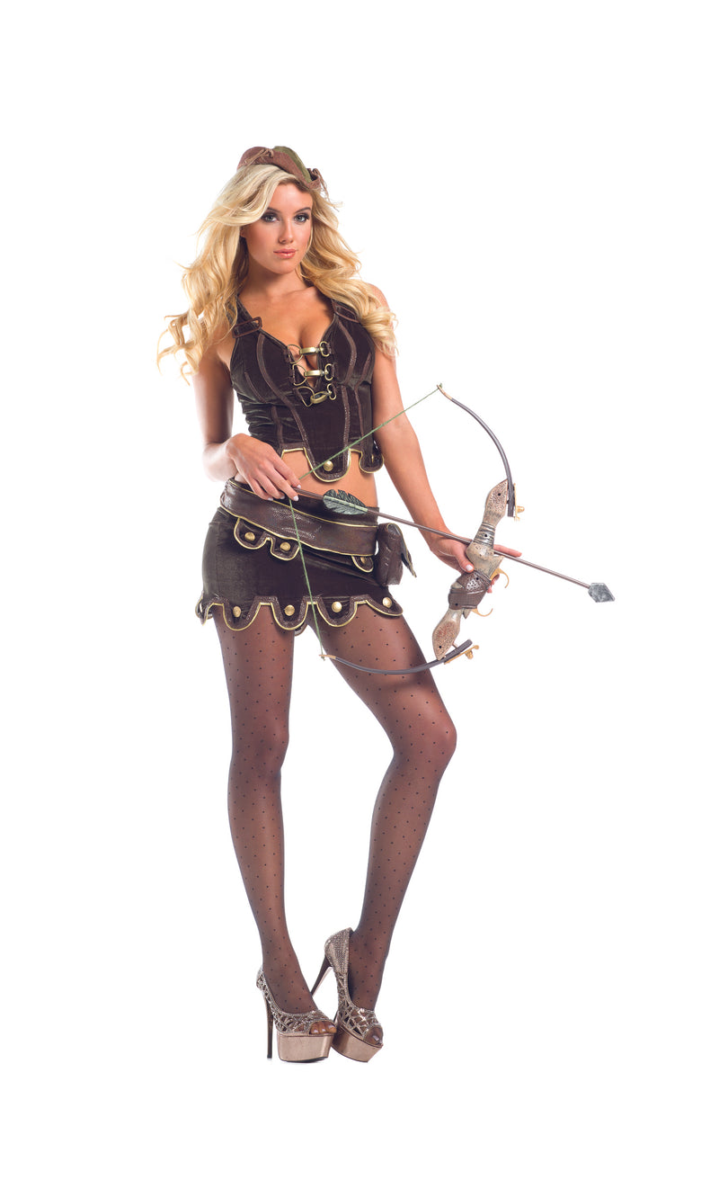 Adult-Women's-4-Piece-Sexy-Miss-Robin-Hood-Zippered-Top-Halloween-Party-Costume-