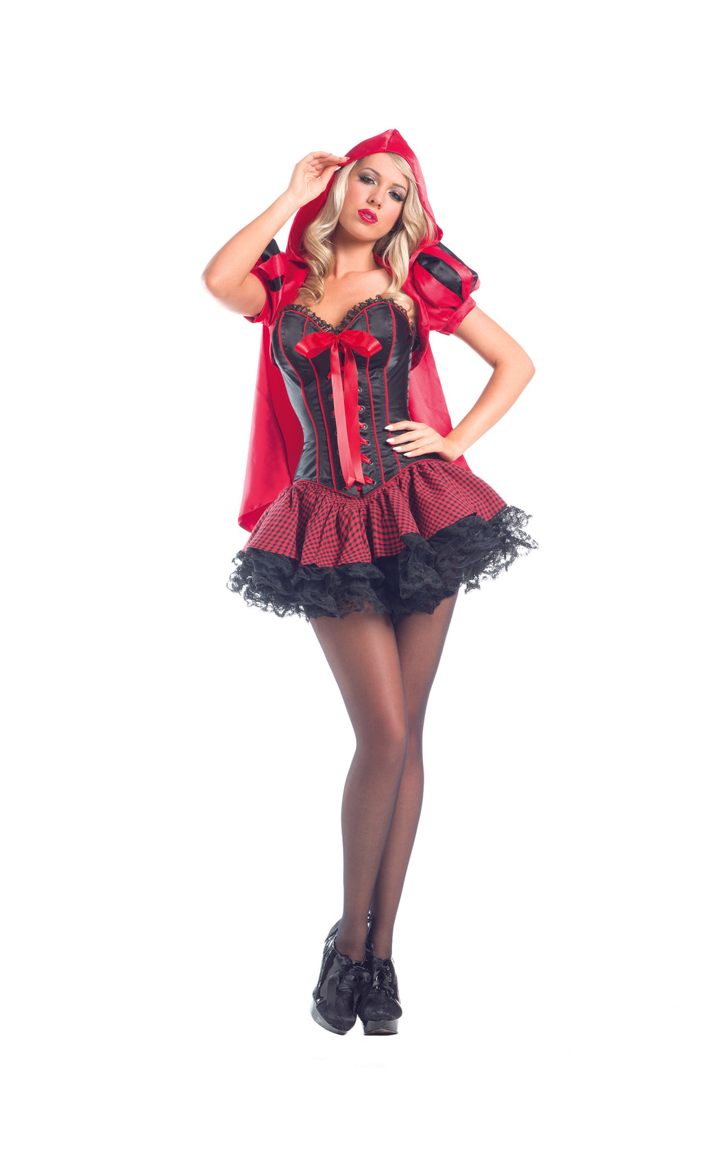 Adult-Women's-6-Piece-Red-Riding-Hood-Corset-Peplum-Dress-Halloween-Party-Costume