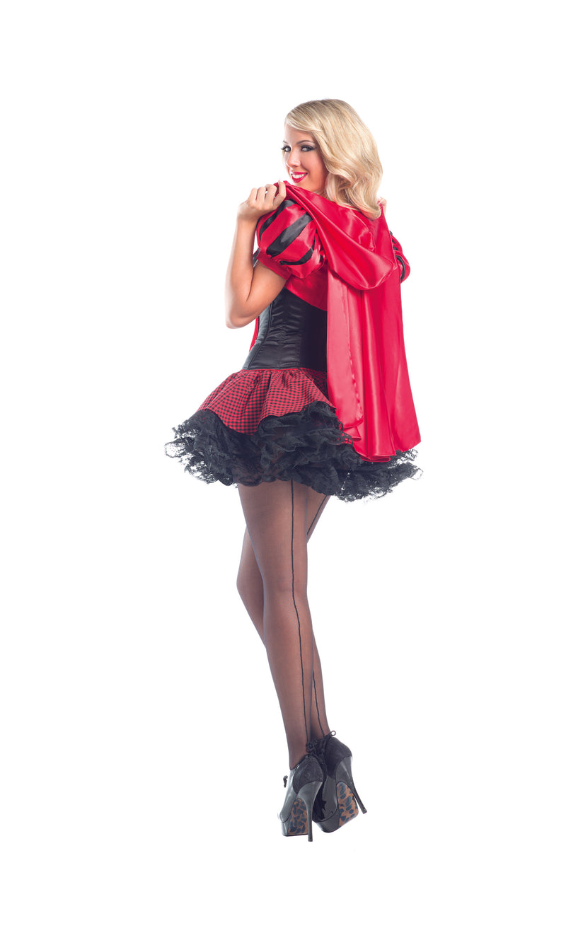 Adult Women's 6 Piece Red Riding Hood Corset Peplum Dress Halloween Party Costume - Fest Threads
