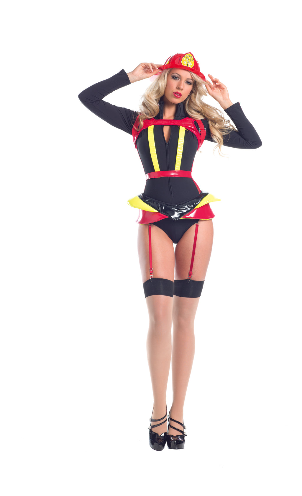 Adult-Women's-4-Piece-Sexy-Fire-Fighter-Romper-Halloween-Party-Costume