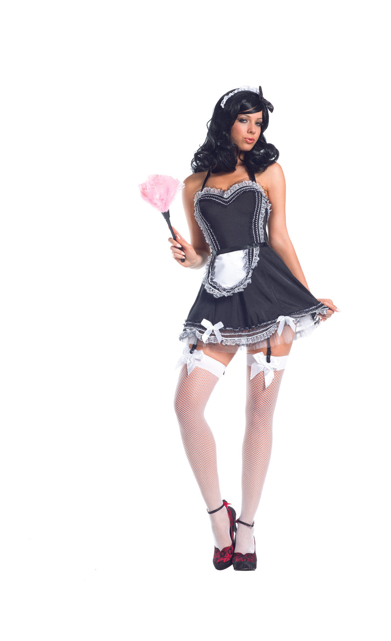 Adult-Women's-4-Piece-Sexy-Naughty-French-Maid-Black-Dress-Halloween-Party-Costume
