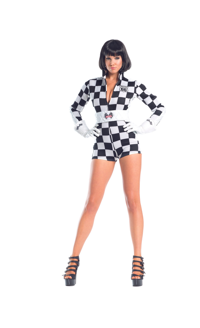 Adult-Women's-3-Piece-Sexy-Race-Car-Driver-Checkered-Romper-Halloween-Party-Costume-