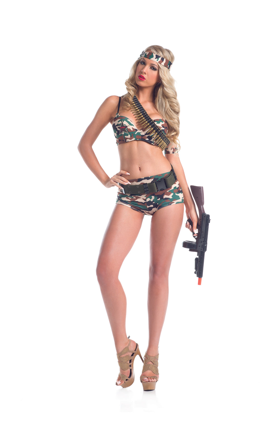 Adult-Women's-5-Piece-Camouflage-Army-Babe-Top-&-Booty-Shorts-Halloween-Party-Costume