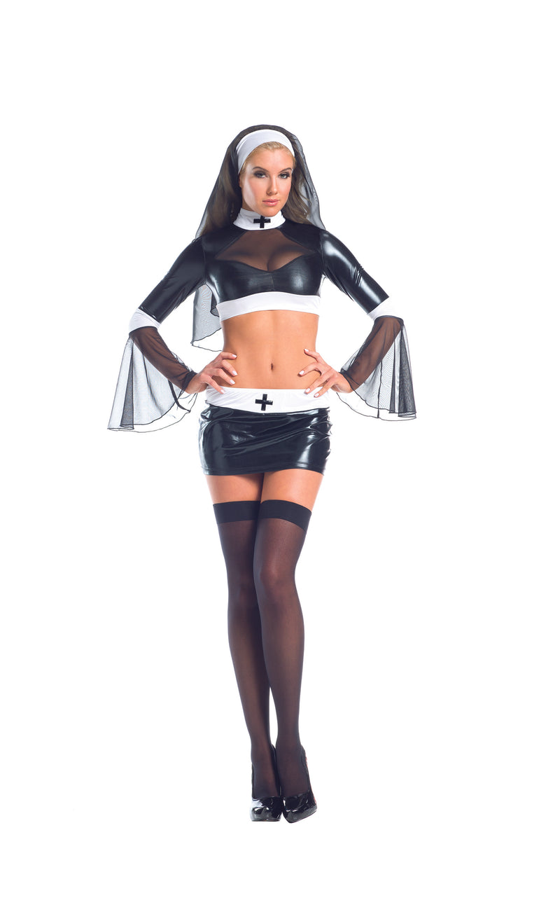 Adult-Women's-3-Piece-Sexy-Naughty-Catholic-Nun-Halloween-Party-Costume