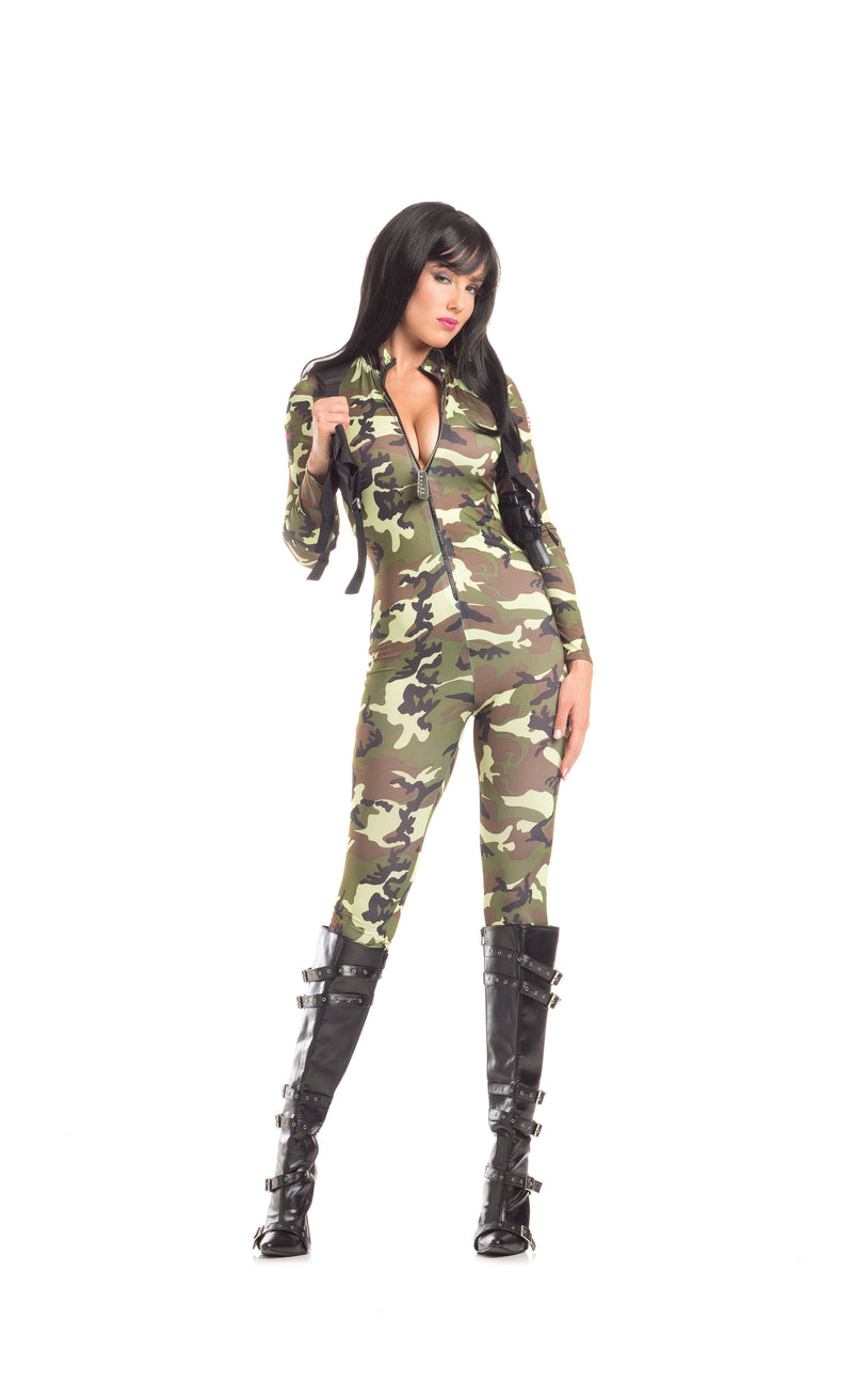 Adult-Women's-2-Piece-Camouflage-Army-Babe-Jumpsuit-Halloween-Party-Costume
