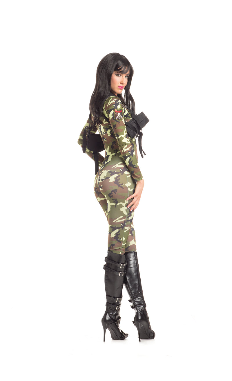 Adult Women's 2 Piece Camouflage Army Babe Jumpsuit Halloween Party Costume