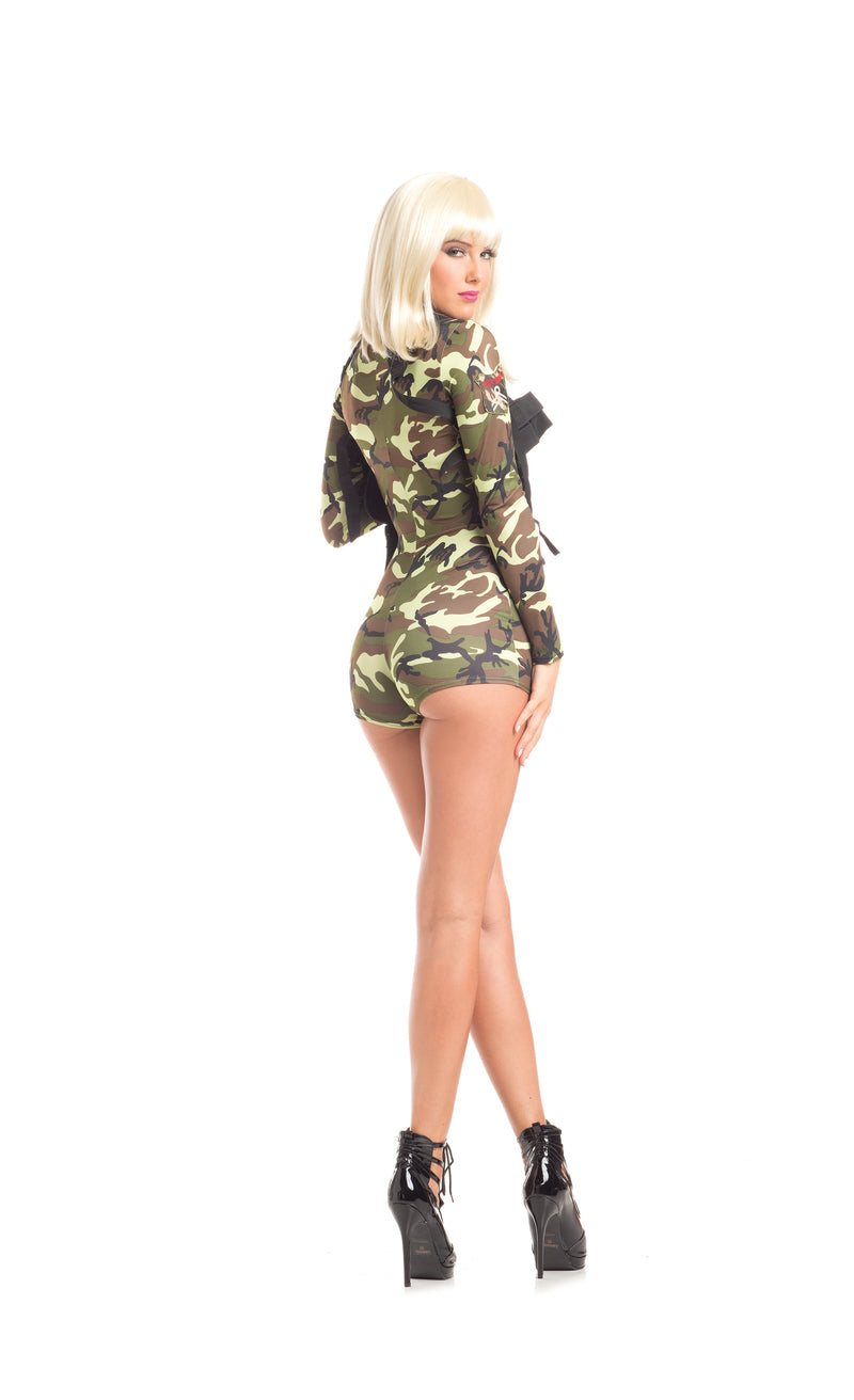 Adult Women's 2 Piece Camouflage Army Babe Romper Halloween Party Costume - Fest Threads