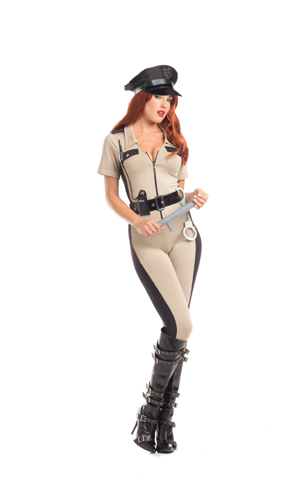 Adult-Women's-4-Piece-State-Trooper-Police-Officer-Cop-Jumpsuit-Halloween-Party-Costume