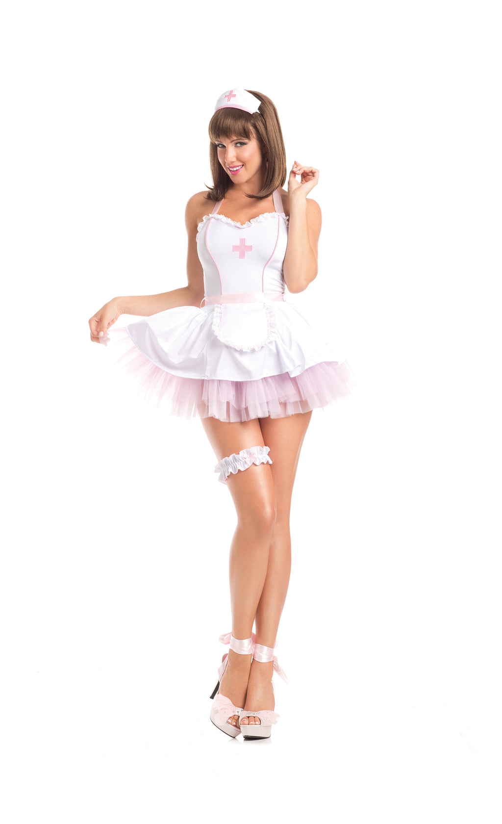 Adult-Women's-4-Piece-Sexy-Nurse-White-&-Pink-Dress-Halloween-Party-Costume
