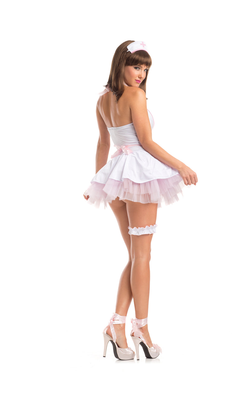 Adult Women's 4 Piece Sexy Nurse White & Pink Dress Halloween Party Costume