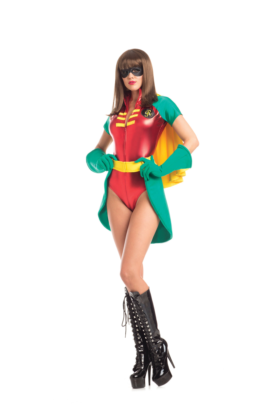 Adult-Women's-5-Piece-Miss-Robin-Super-Hero-Halloween-Party-Costume