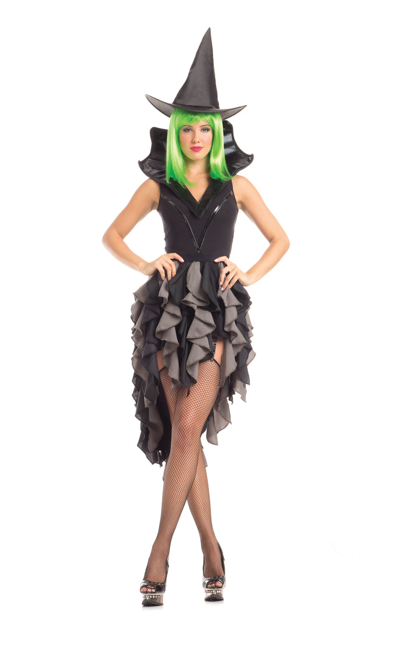 Adult-Women's-5-Piece-Sexy-Witch-Ruffle-Dress-Halloween-Party-Costume