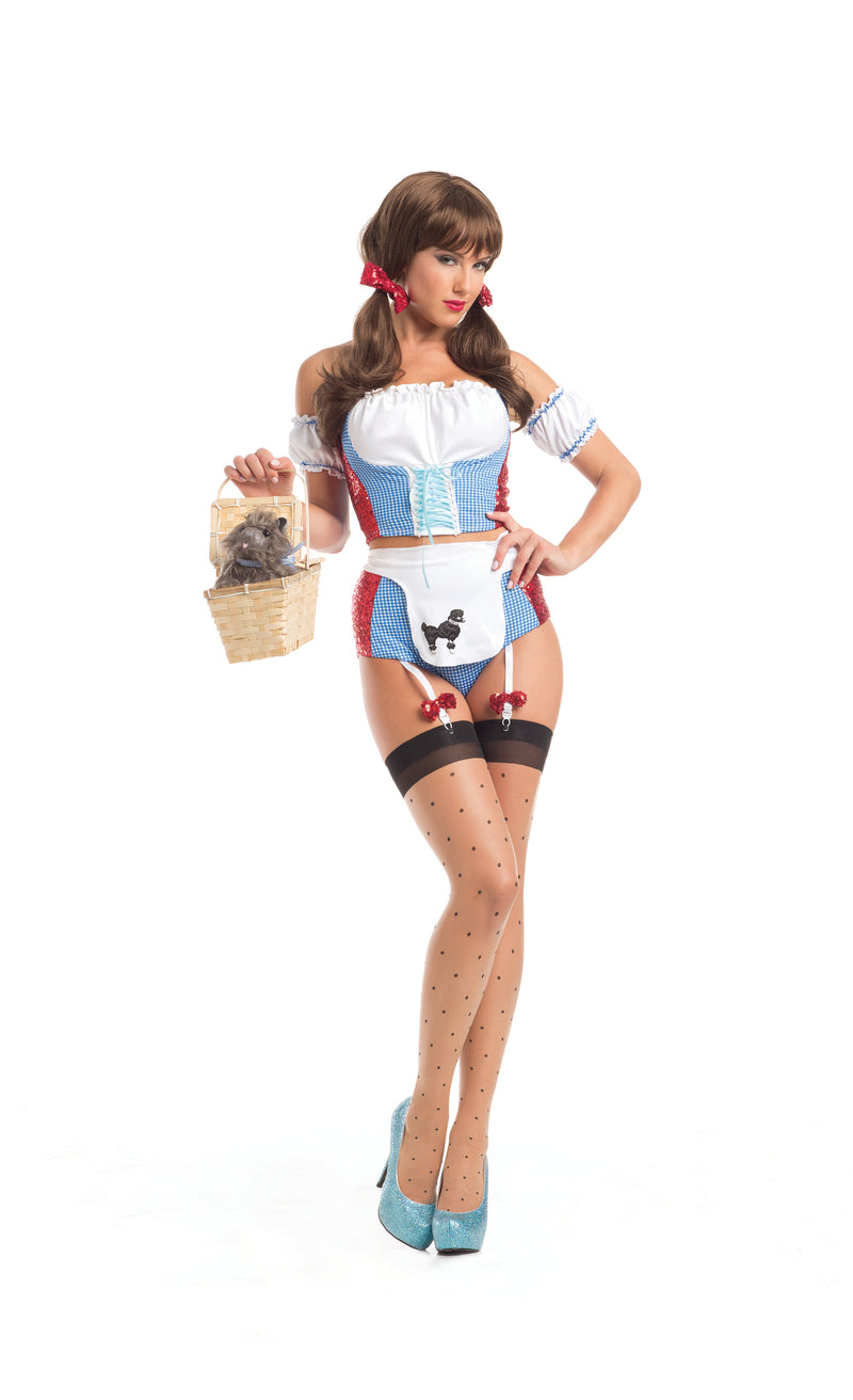 Adult-Women's-6-Piece-Sexy-Wizard-of-Oz-Dorothy-Body-Suit-Halloween-Party-Costume