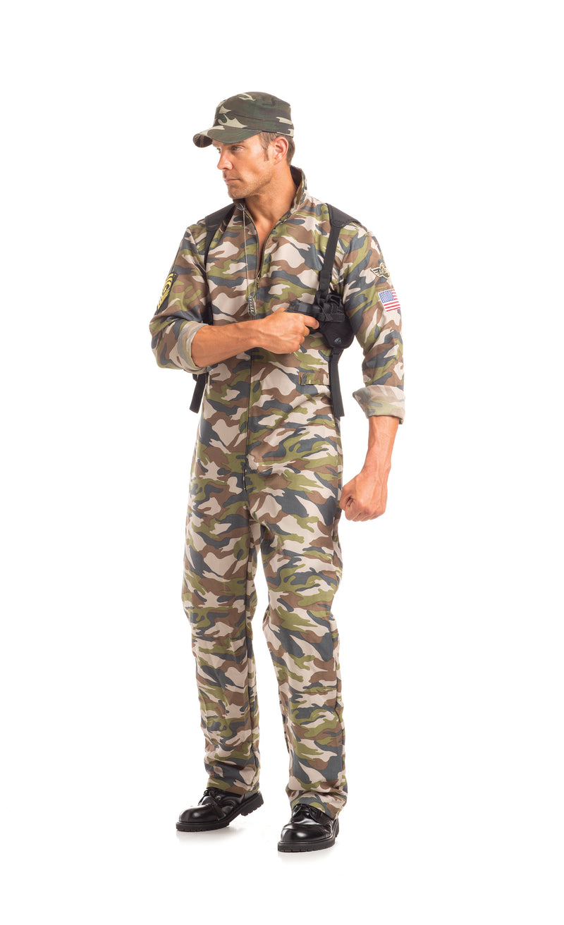 Adult-Men's-2-Piece-Camouflage-Army-Man-Halloween-Party-Costume