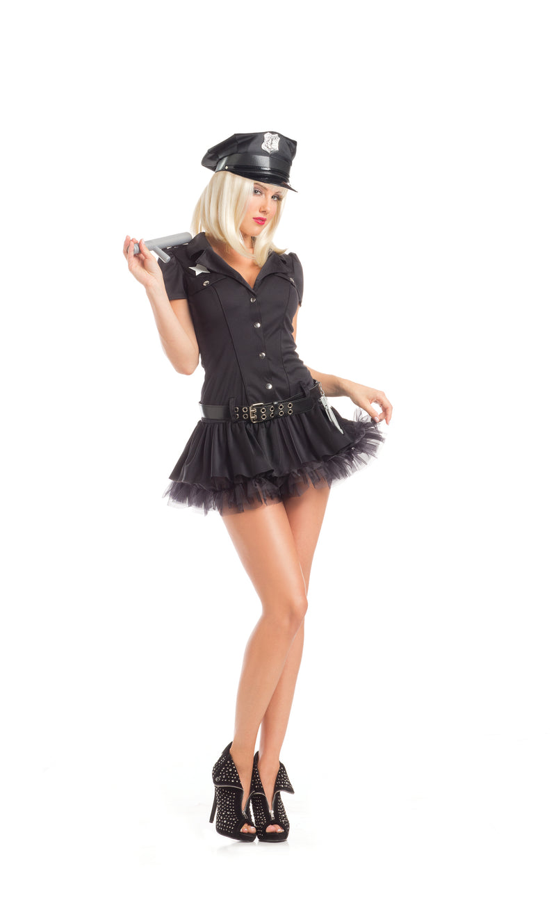 Adult-Women's-3-Piece-Police-Officer-Cop-Button-Up-Dress-Halloween-Party-Costume