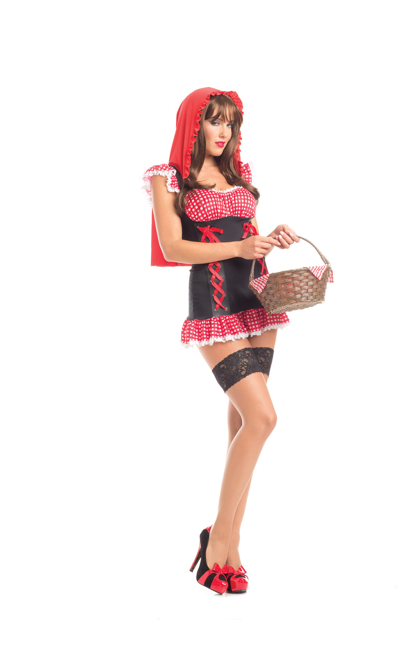 Adult-Women's-1-Piece-Red-Riding-Hood-Corset-Gingham-Dress-Halloween-Party-Costume