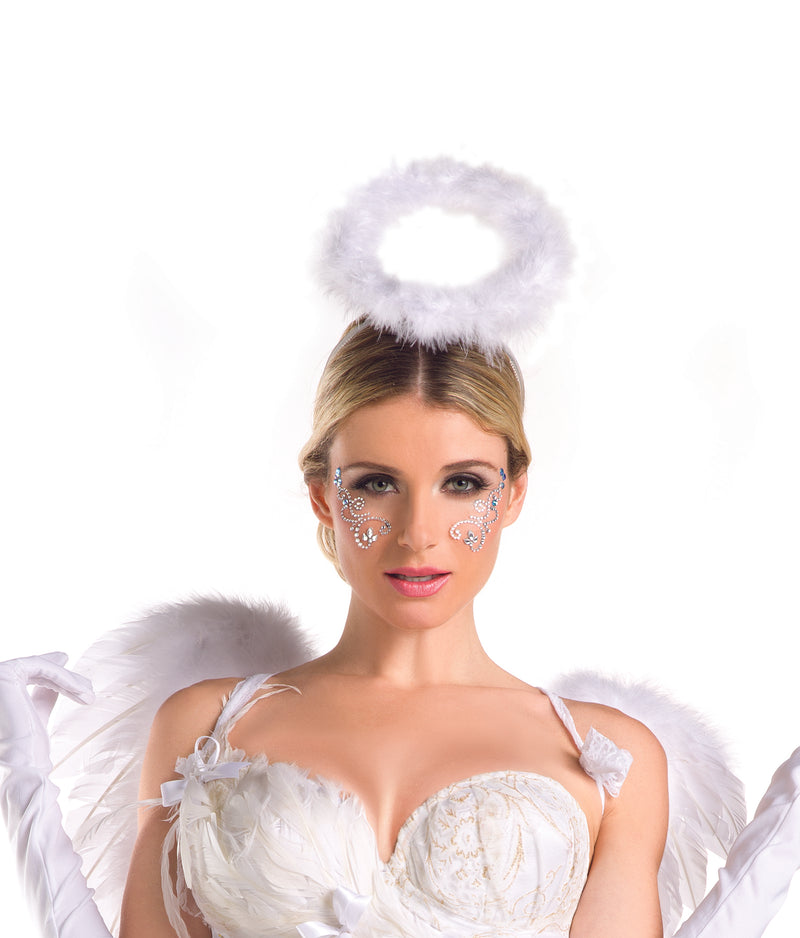 Adult-Women's-White-Angel-Feather-Halo-Novelty-Halloween-Costume-Accessory