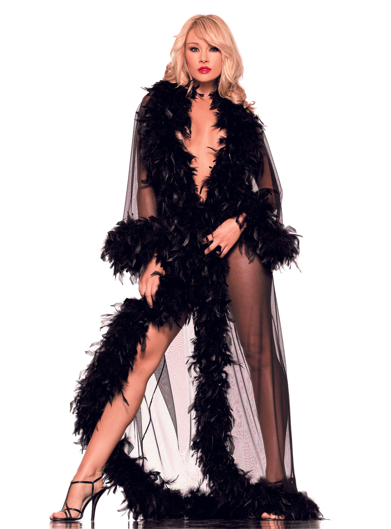 Adult-Women's-Sexy-Feather-Sheer-Robe-Halloween-Party-Costume