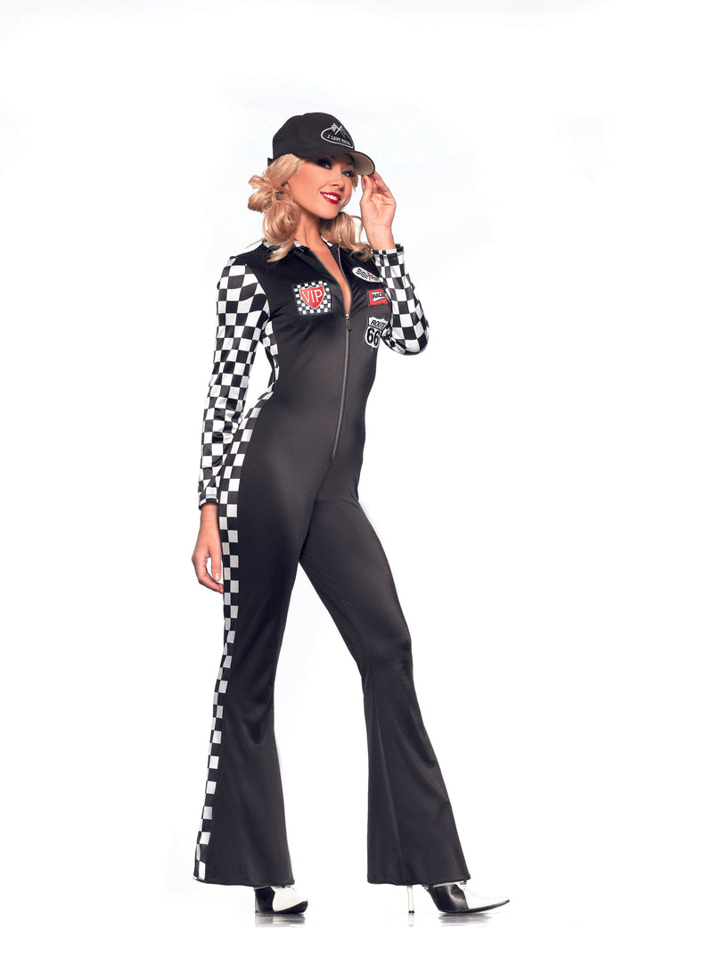 Adult-Women's-3-Piece-Sexy-Race-Car-Driver-Black-Lycra-Jumpsuit-Halloween-Party-Costume-