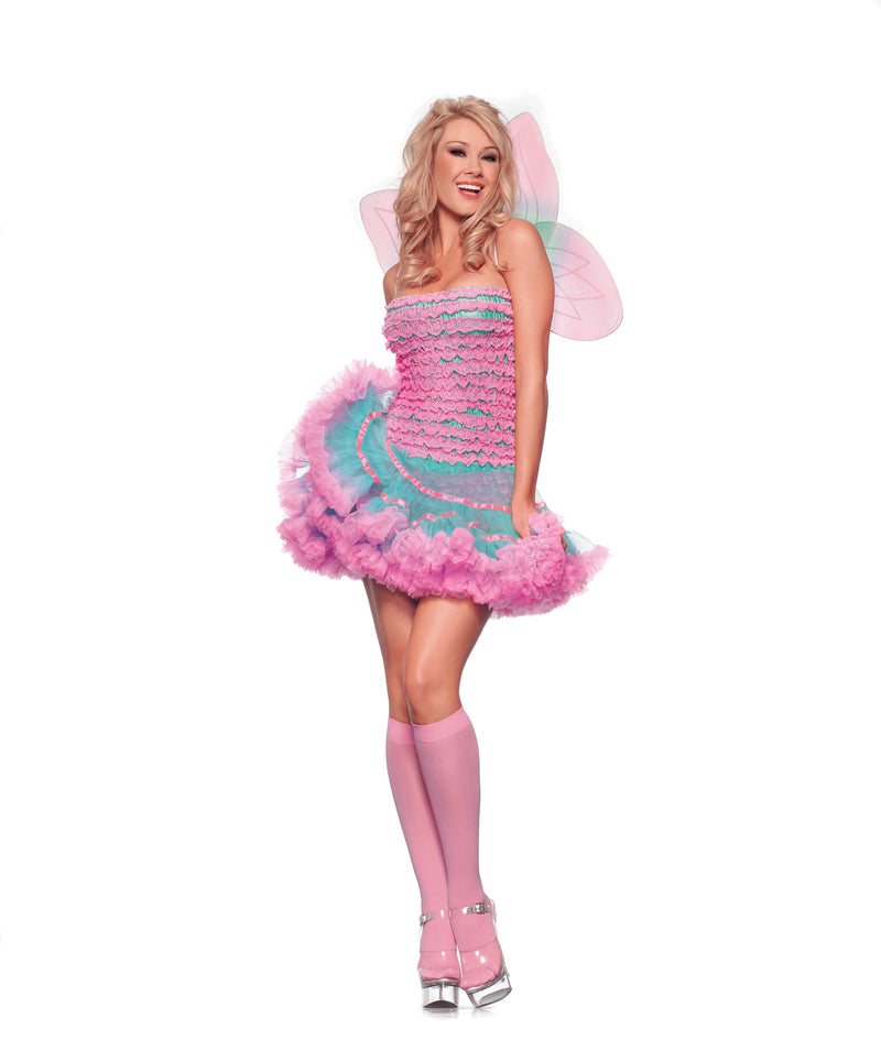Adult-Women's-2-Piece-Sexy-Pink-Fairy-Pixie-Butterfly-Halloween-Party-Costume-
