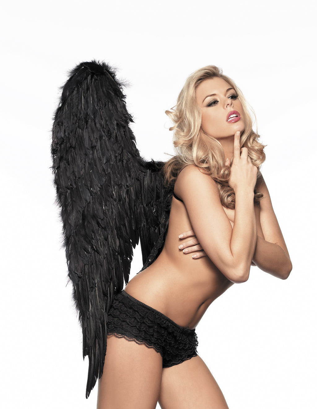 Adult-Women's-Black-Fallen-Angel-Feather-Wings-Novelty-Party-Halloween-Costume-Accessory
