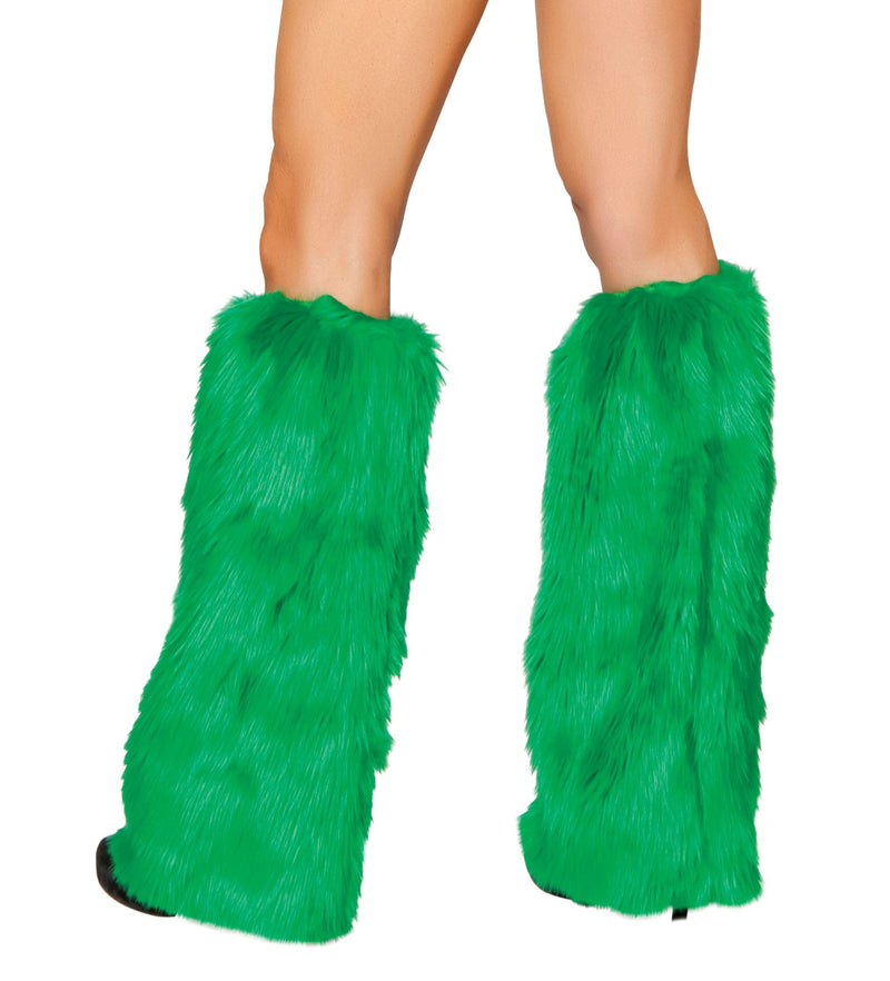 Adult-Women's-Green-Christmas-Party-Fur-Boot-Covers-Accessory