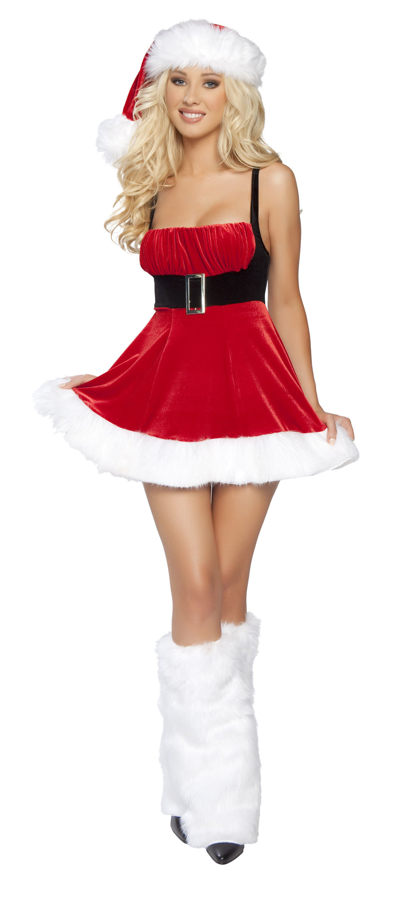 1 Piece Christmas Party Belted Tank Flare Mini Dress - Fest Threads