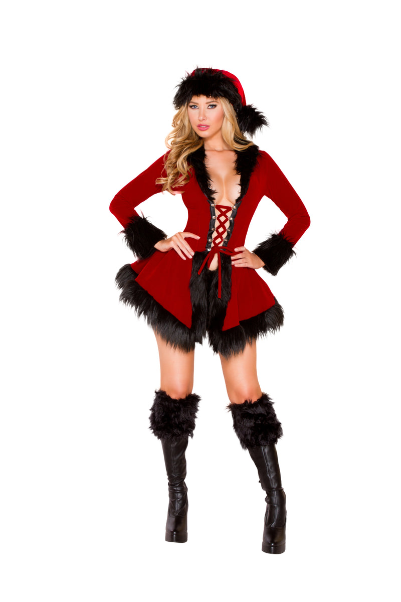 2 Piece Christmas Party Red & Black Lace up Jacket & Booty Shorts