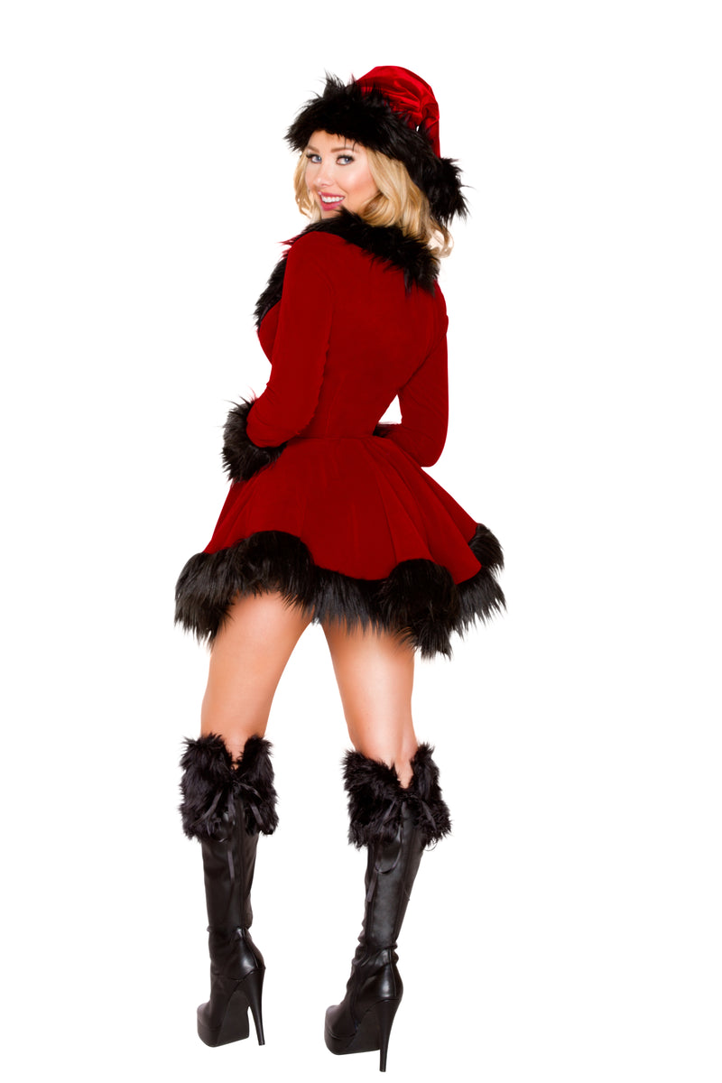 2-Piece-Christmas-Party-Red-&-Black-Lace-up-Jacket-&-Booty-Shorts