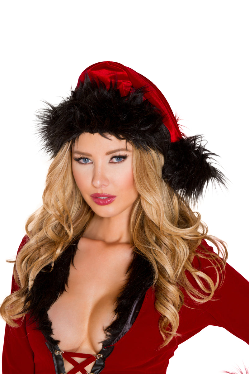 Adult-Women's-Red-&-Black-Christmas-Party-Fur-Trimmed-Hat-Accessory