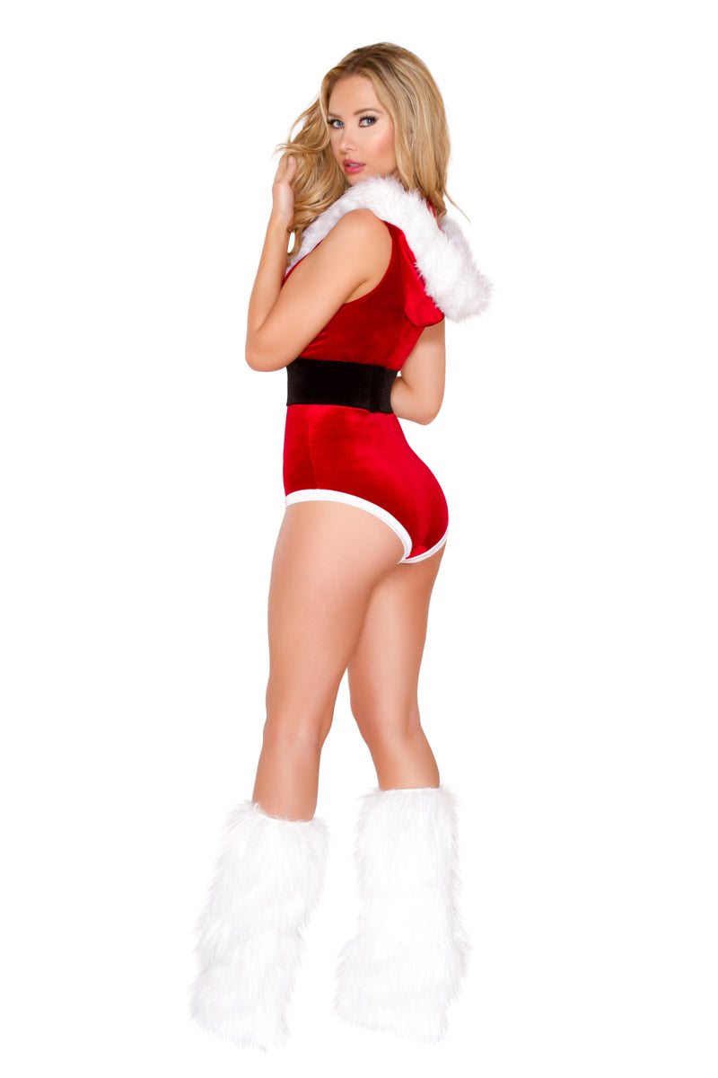 2-Piece-Christmas-Party-Red-Belted-Romper-w/-Hood