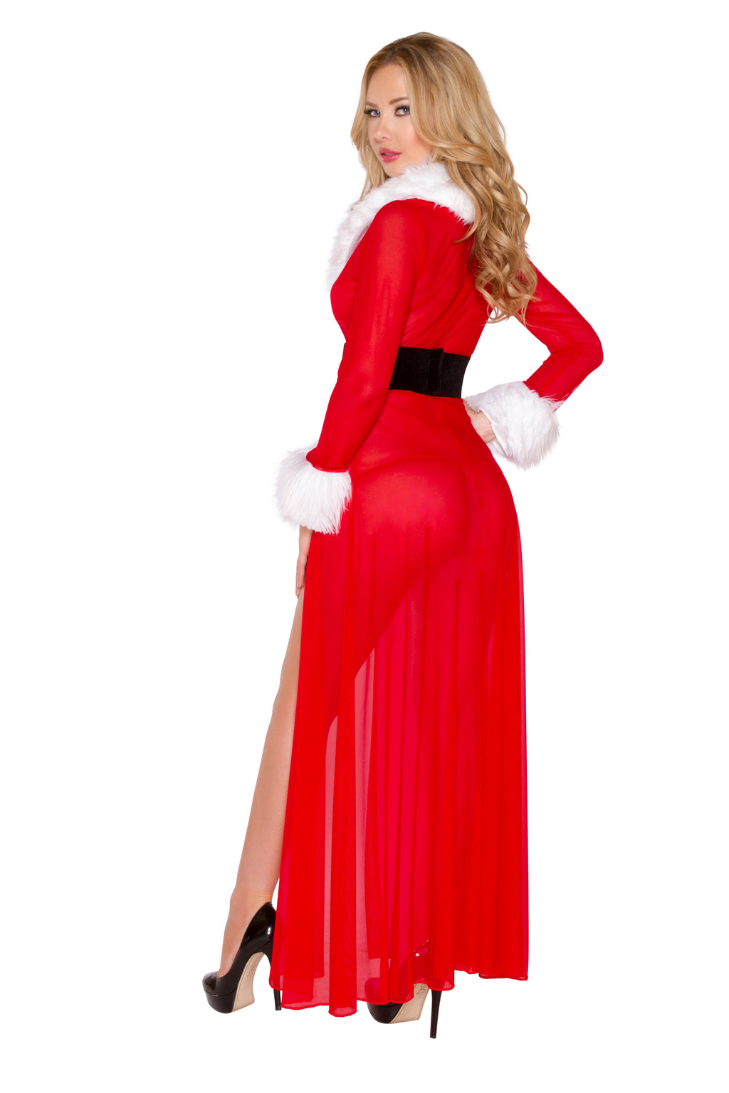 3-Piece-Christmas-Party-Red-Sheer-Belted-Robe-&-G-String