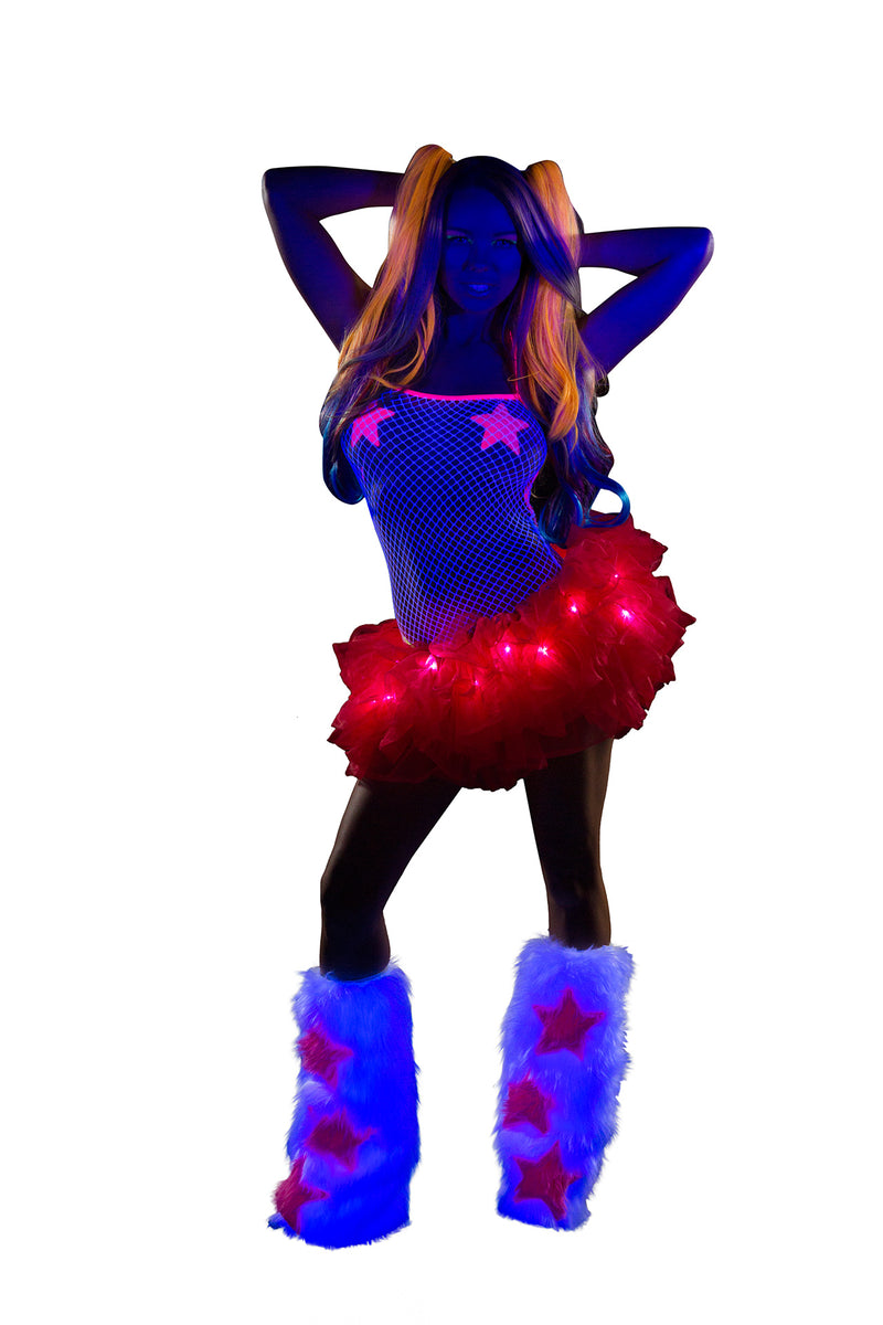 Adult-Women's-Red-Light-up-Tutu-Festival-Party-Costume-Accessory