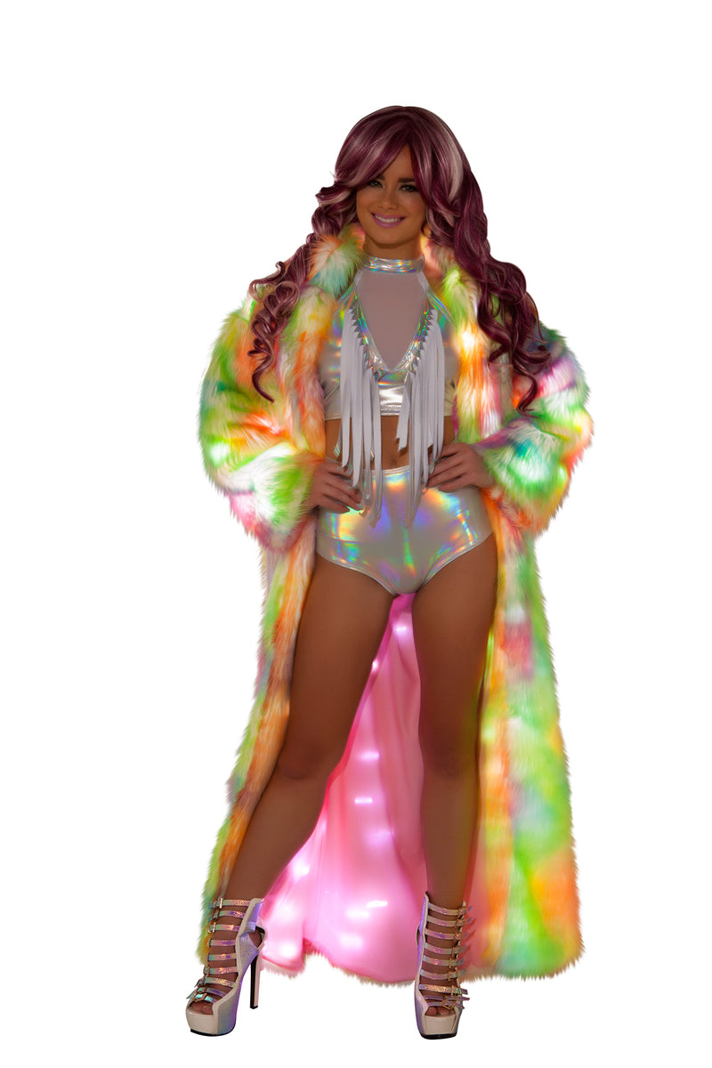 1 PC Rainbow Light up Long Fur Robe Coat Rave EDM Festival Party Costume - Fest Threads