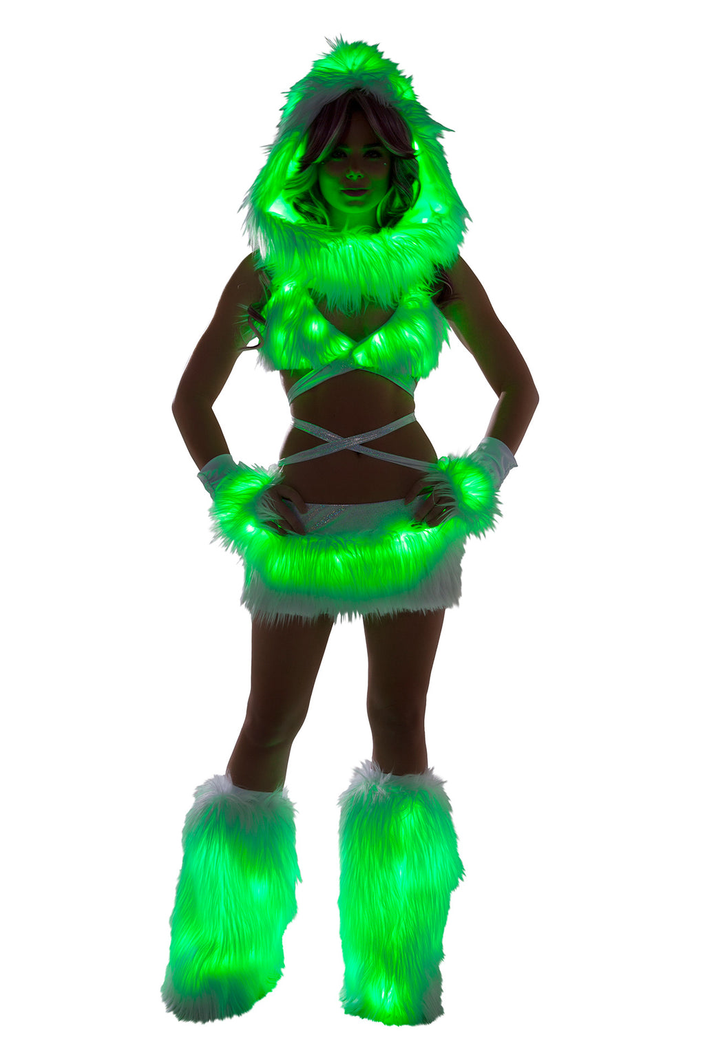 1-PC-Fur-Light-up-Mini-Skirt-Rave-EDM-Festival-Party-Costume---Multiple-Colors