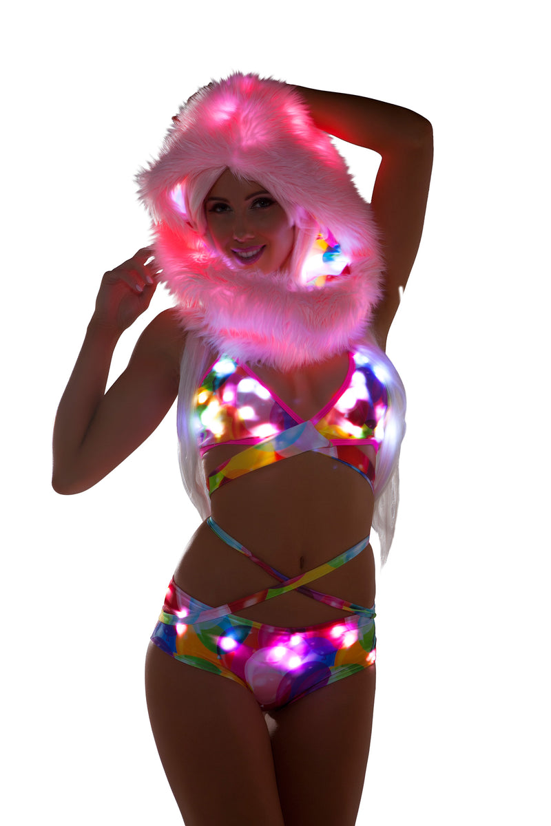 Adult Women's Fur Light Up Hood Party Costume Accessory - Multiple Colors/Prints - Fest Threads