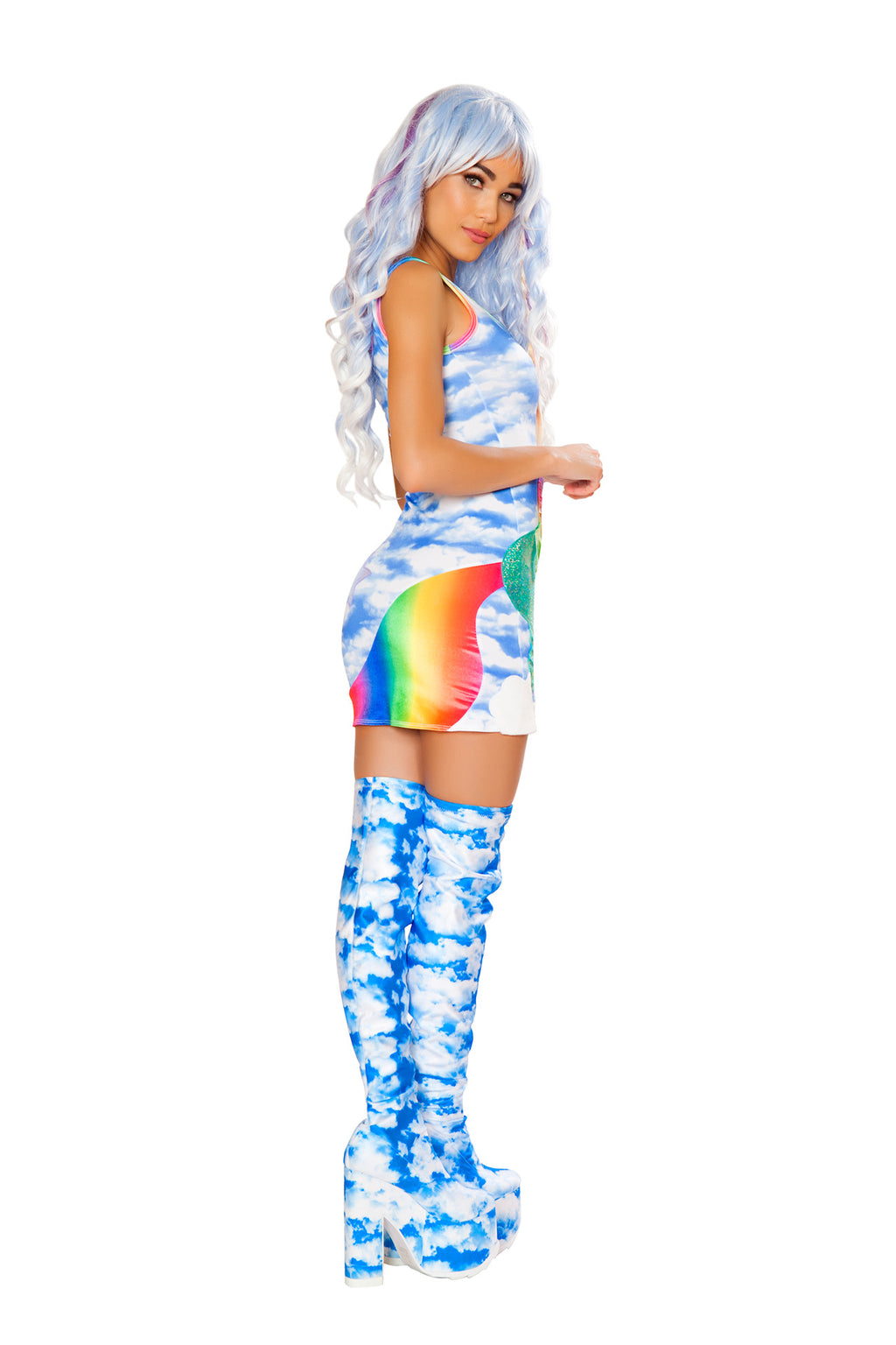 1-PC-Aqua-Unicorn-Pony-Cloud-Printed-Dress-Rave-EDM-Festival-Party-Costume