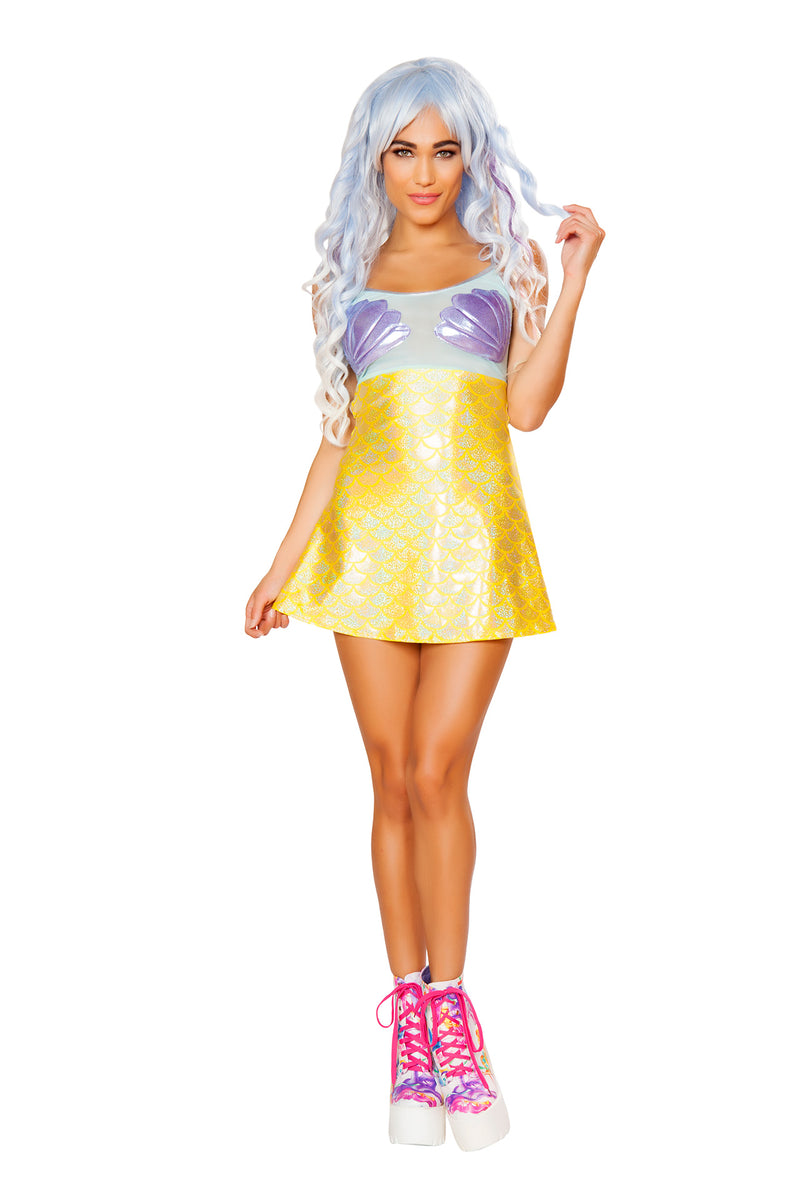 1-PC-Mermaid-Sea-Siren-Lavender-Shell-Print-&-Yellow-Scale-Dress-Party-Costume