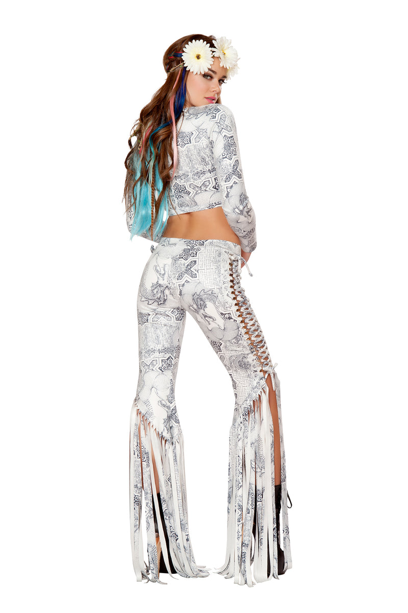 1 PC Lace Up Long Sleeve Fringe Top Party Costume - Multiple Colors/Prints - Fest Threads