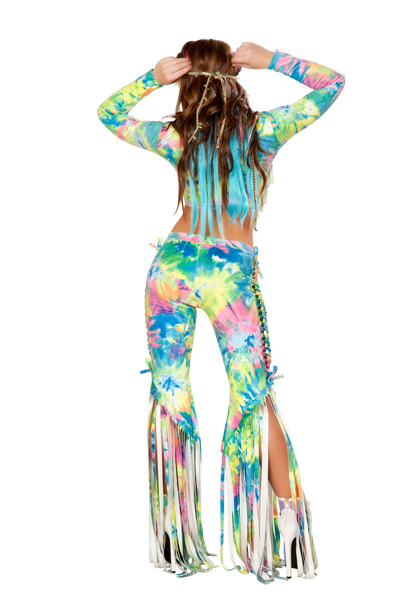 1 PC Lace Up Fringe Pants Party Costume - Multiple Colors/Prints - Fest Threads