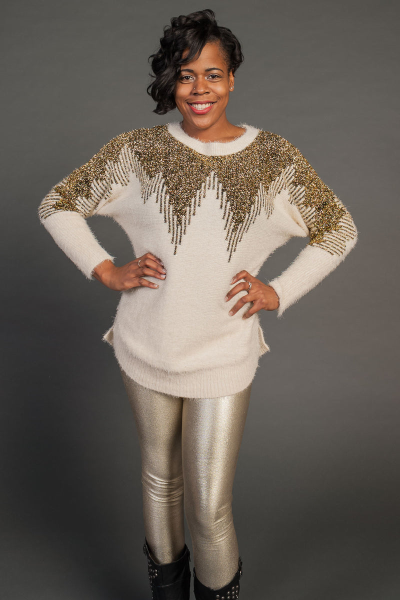 Women's Gold & Cream Metallic Sweater Shirt - Fest Threads