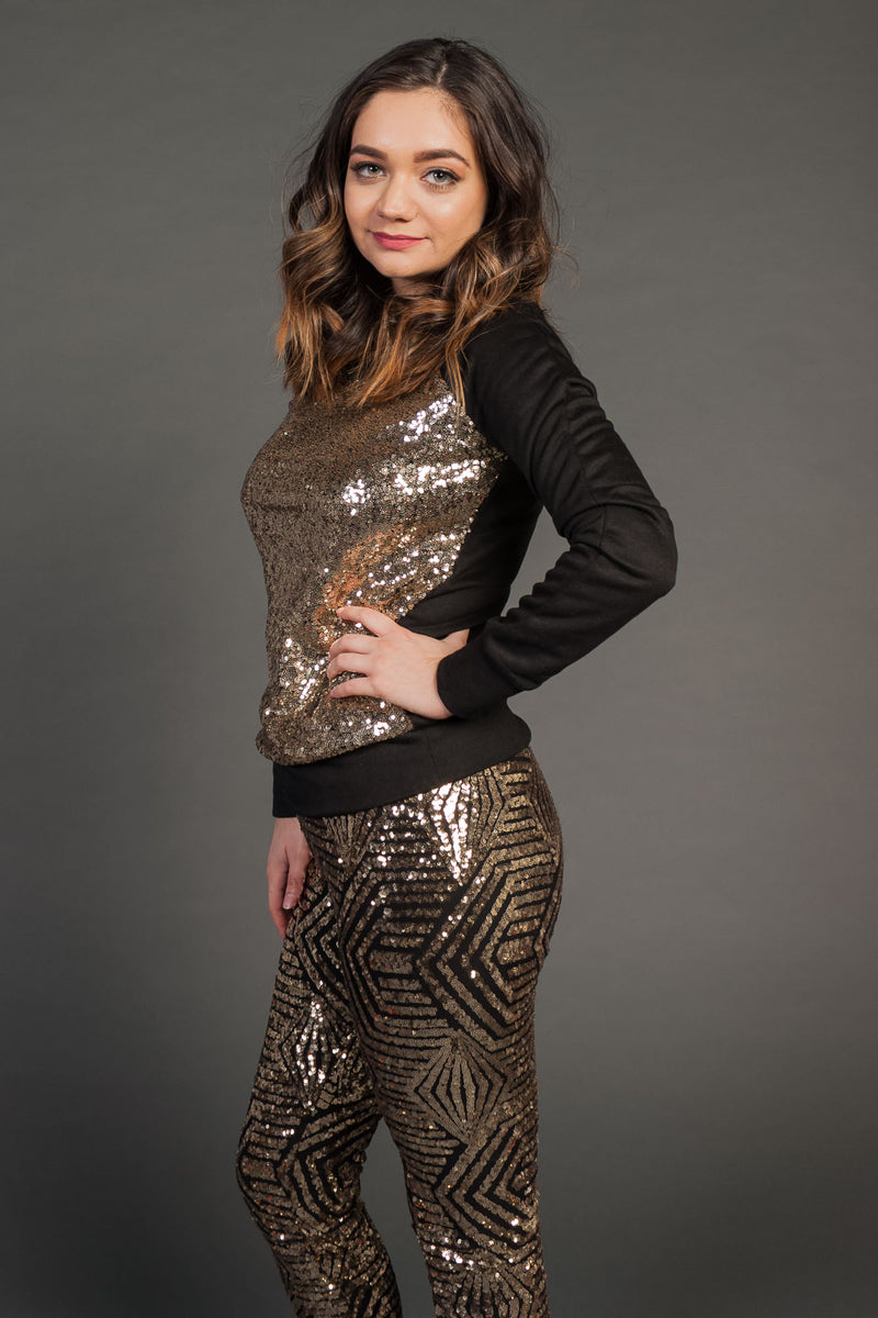 Women's Junior's Black Fashion Glitter Clubwear Party Sweater With Gold Sequin - Fest Threads
