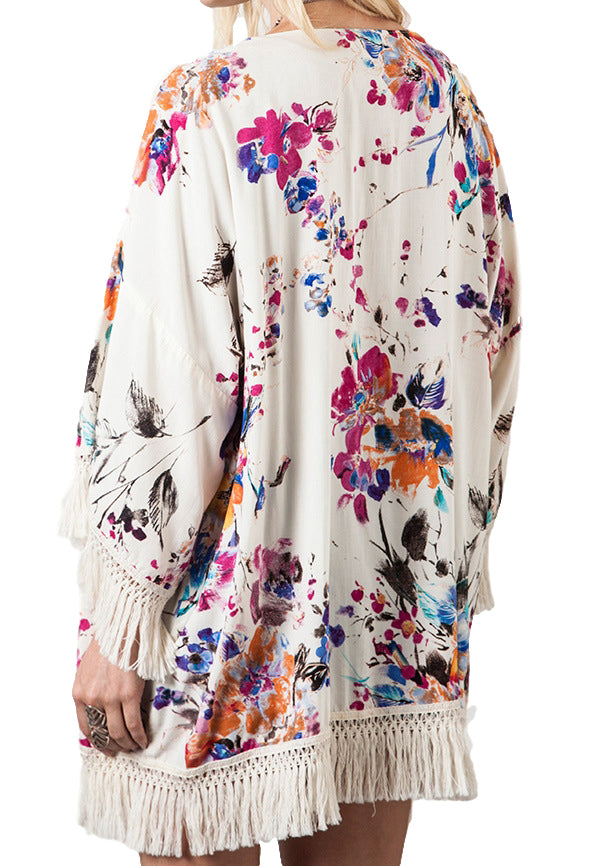 Women's Junior's Bright Floral Bohemian Music Festival Kimono Jacket Blouse Top - Fest Threads