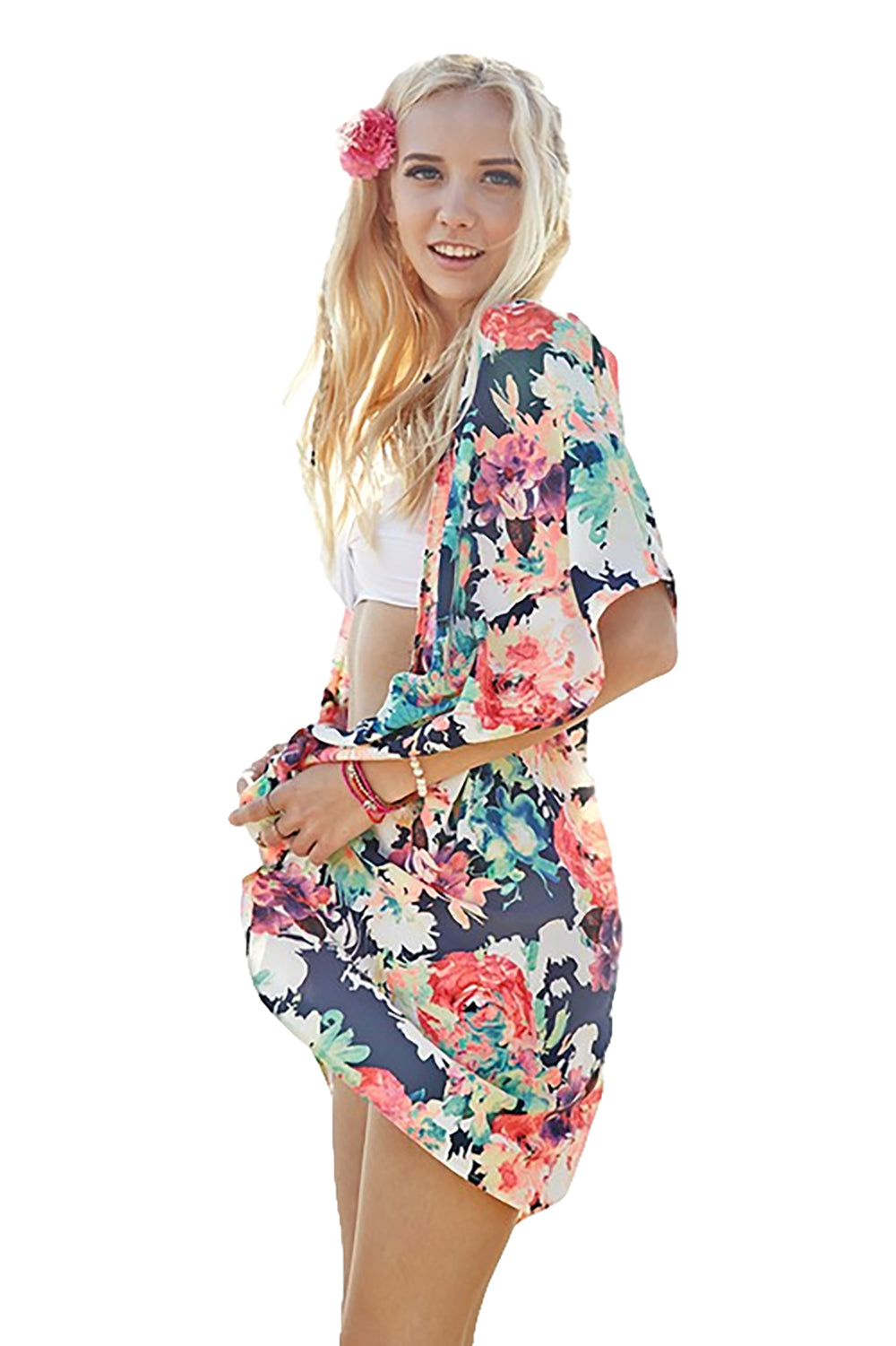 Women's Junior's Floral Boho Hippie Music Festival Kimono Cardigan Blouse Top - Fest Threads
