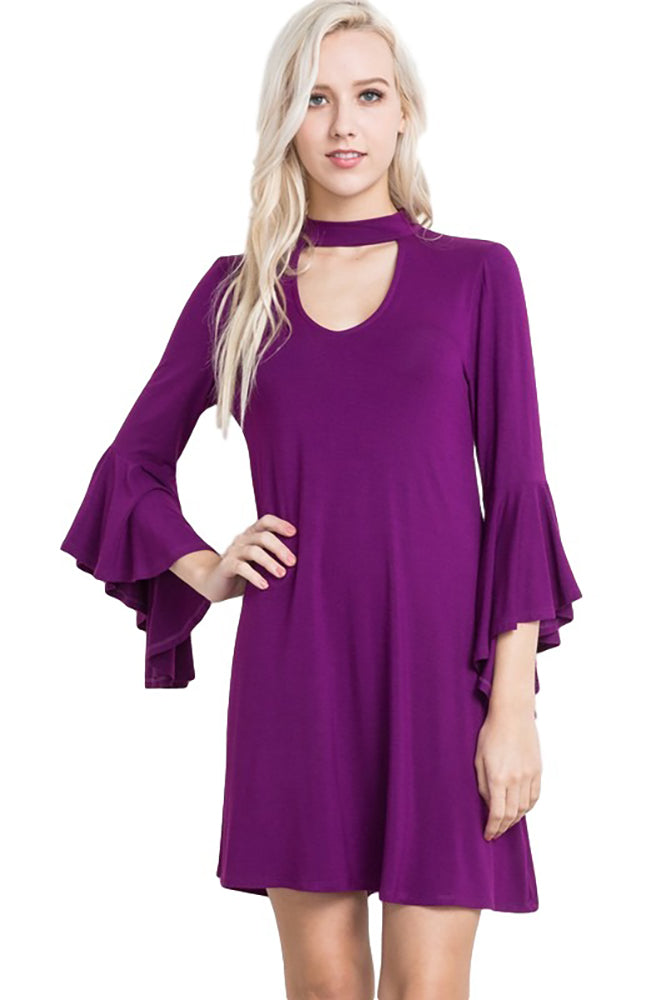 Women's Junior's Magenta Purple Mardi Gras Party Boho Dress With Built In Choker - Fest Threads