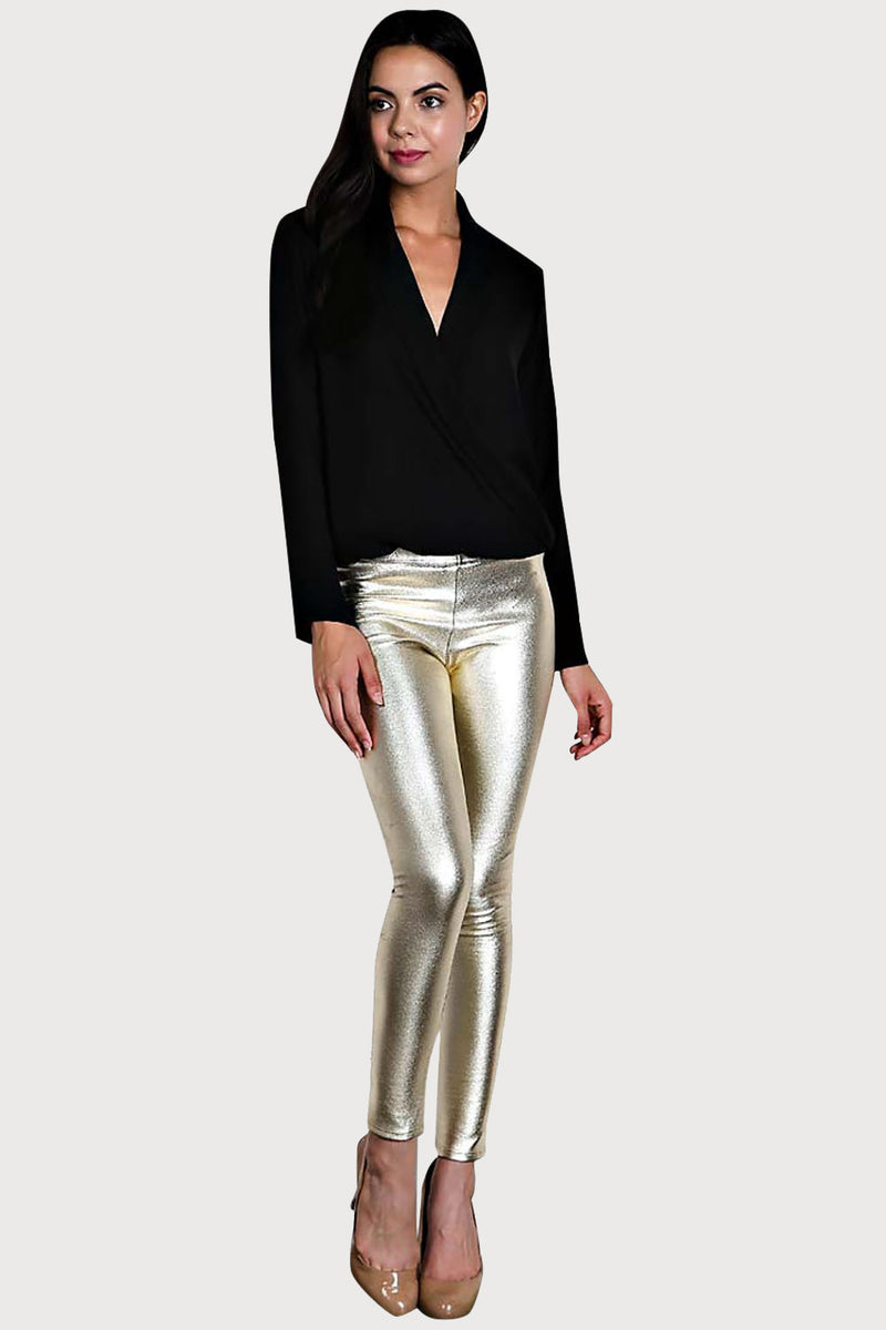 Women's Junior's Metallic Gold Sexy Shiny Clubwear Party Rave Festival Leggings - Fest Threads