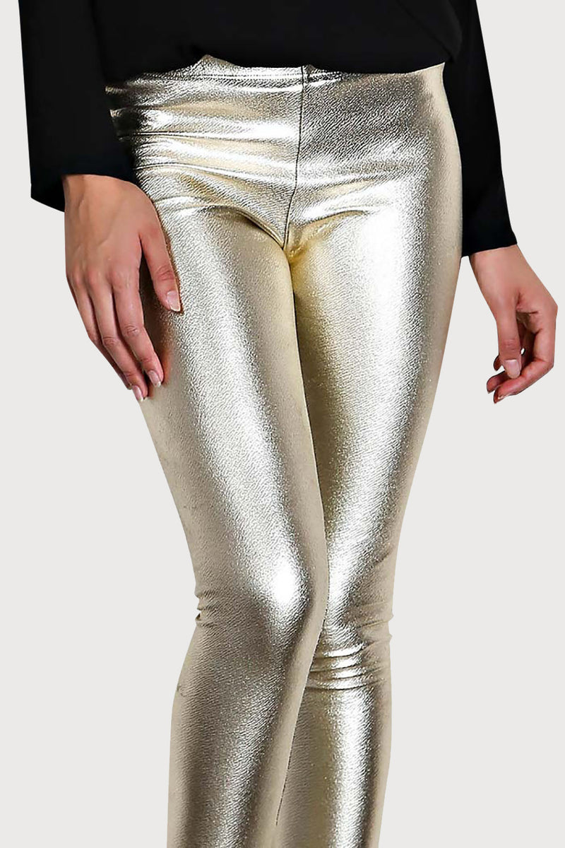 Women's Junior's Metallic Gold Sexy Shiny Clubwear Party Rave Festival Leggings