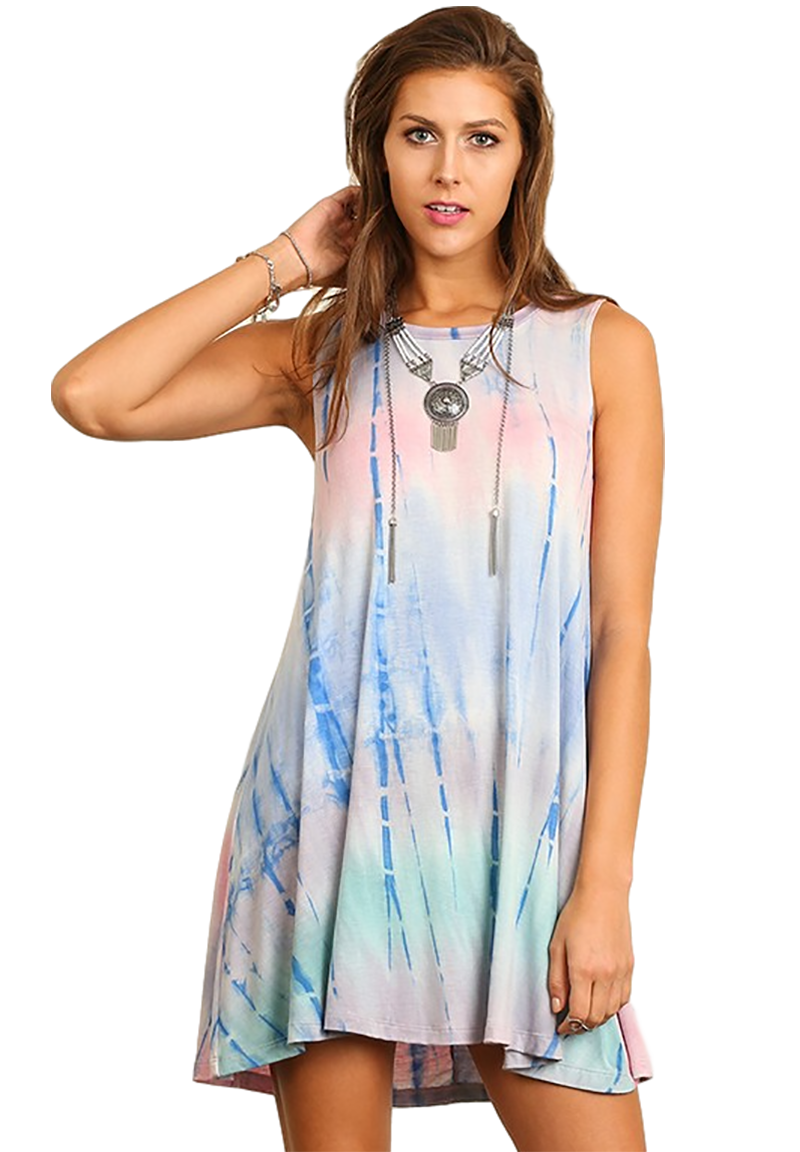 Women's Junior's Pink & Blue Tie Dye Boho Music Festival Beach Swing Dress - Fest Threads