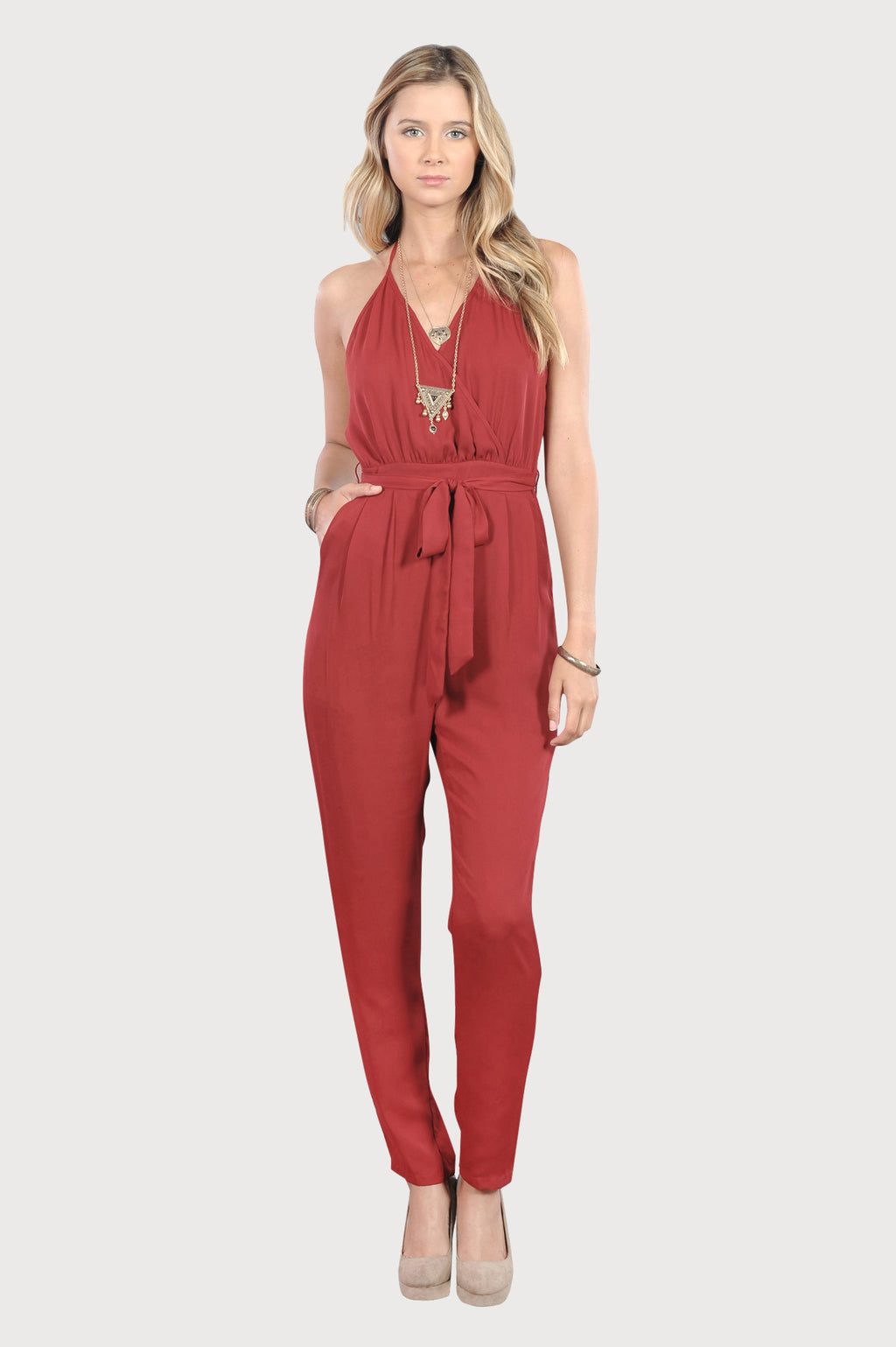 Women's Juniors Red Sexy Spaghetti Strap Halter Summer Beach Trip Romper Jumpsuit - Fest Threads