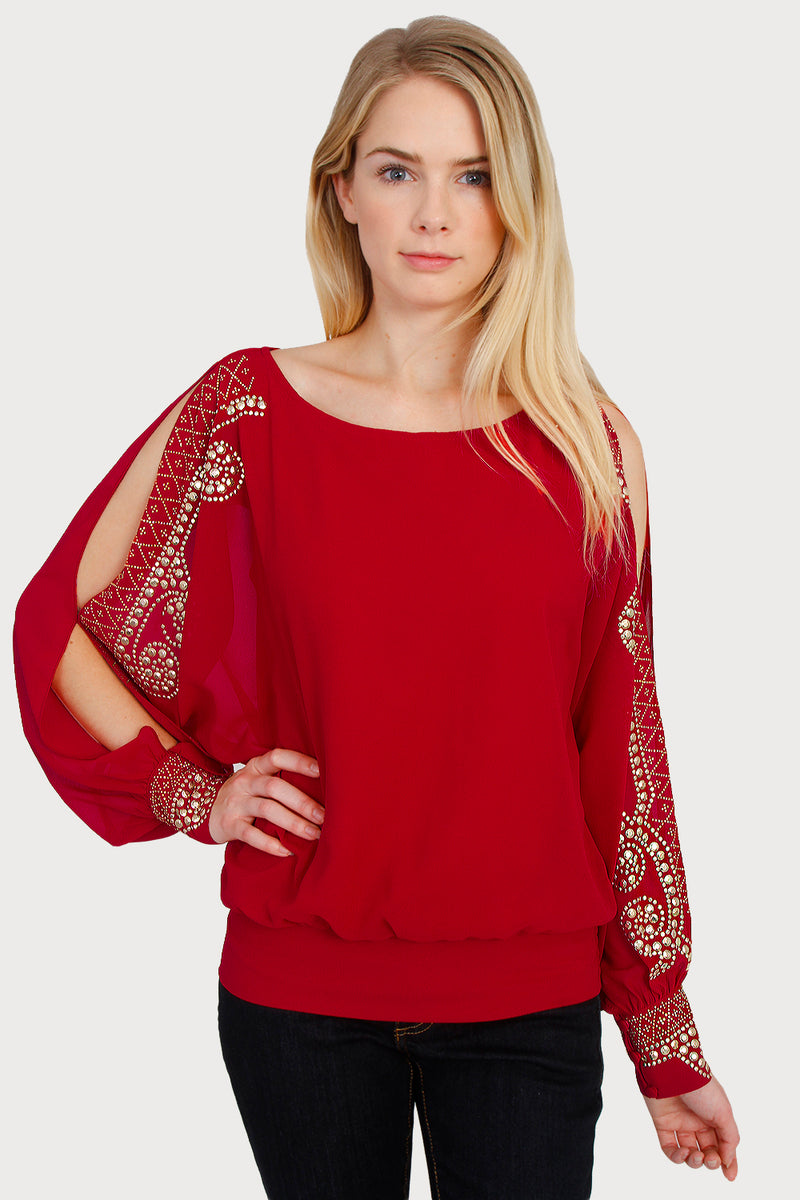 Women\'s Red & Gold Long Sleeved Sexy Boho Embellished Jewel Cocktail ...